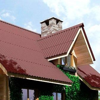 Ондулин на крыше дома в Советском